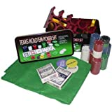 Texas Hold Em Poker Set In Tin - Gaming Mat, 200 Chips, Playing Cards NEW 176333