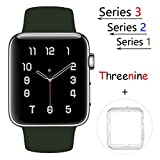 Threenine for Apple Watch Band, Durable Soft Silicone iWatch Strap Replacement Sport Band for Apple Watch Band Series 3 Series 2 Series 1 Sport, Edition (Olive Green, 42mm M/L)