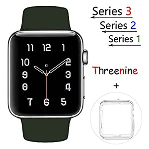 Threenine for Apple Watch Band, Durable Soft Silicone iWatch Strap Replacement Sport Band for Apple Watch Band Series 3 Series 2 Series 1 Sport, Edition (olive Green, 38mm M/L)