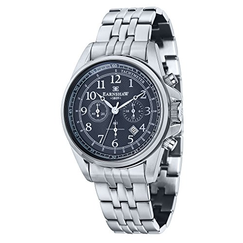 Thomas Earnshaw Men's 'COMMODORE' Quartz Stainless Steel Casual Watch, Color:Silver-Toned (Model: ES-8028-22)