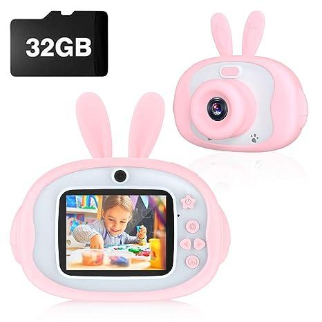 Cámara de Fotos para Niños, Cámara de Fotos Digital con 32GB Tarjeta SD y Acollador, con LCD 1080P HD de 2.4 Pulgadas Pantalla,Regalo de navidad y ...