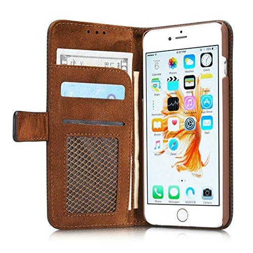 Protege tu iPhone, Para el iPhone 8 y 7 retro estilo malla transpirable Horizontal Flip caja de cuero con ranura para tarjetas y titular y cartera Para el teléfono celular de Iphone. ( Color : Azul ) Azul