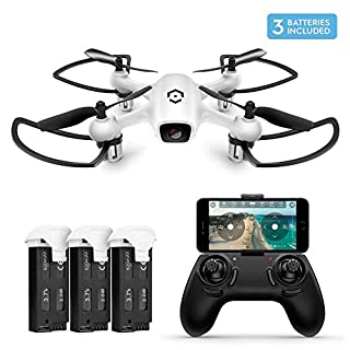 Amcrest A4-W Skyview WiFi FPV Drone Quadcopter w/Camera HD 720P, Training Drone Beginner, 2.4ghz WiFi Helicopter w/Remote Control, Smartphone Control, 2 x Additional Batteries Included (A4-W-Batt)