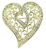 Arabesque Love Swirls Gold Heart Rhinestone Brooch Pin with Clear Crystals