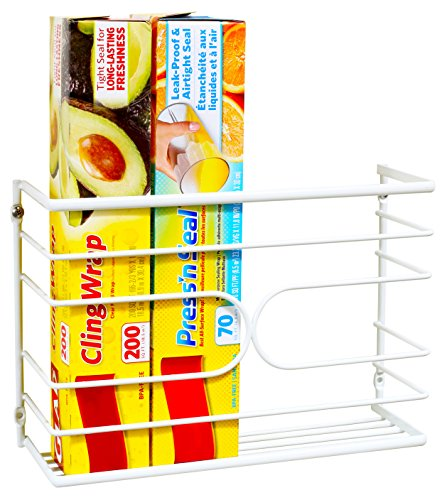 DecoBros Wall Door Mount Kitchen Wrap Organizer Rack, White ()
