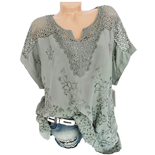TnaIolral Women T-Shirt O-Neck Short Sleeve Hollow Out Solid Blouse Top Green