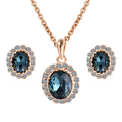 Yoursfs Kate Middleton Style Blue Crystal Stud Earrings Necklace Set For Women Fashion Jewelry