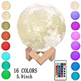 Moon Light Lamp, 16 Colors Night Light Lighting LED 3D Printing Moon Lamp Remote&Tap Control Brightness Adjustable Gift For Baby Friends