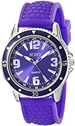XOXO Women's XO8066 Purple Analog Silicone Strap Watch
