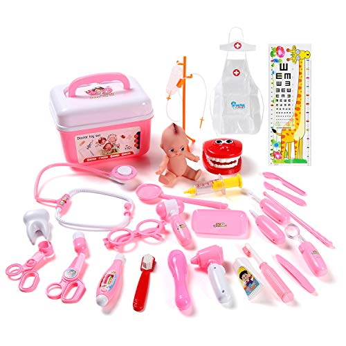 STEAM Life Toy Doctor Kit for Kids and Toddlers Pretend Play for Girls Medical Dr Toys for Girl Age 3 4 5 6 7 Year Old - 31 pcs Pink -