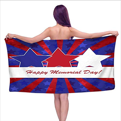 Aurauiora Bath Towel bar Memorial Day background2,W20 xL39 for Men red ()