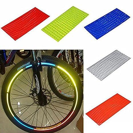keeenest fluorescente ciclismo rueda neumático pegatinas reflectantes para bicicleta tira de pegatinas de vinilo cinta 10