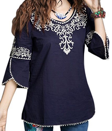 Triumphin Blue Women Tunic Short Kurti For Jeans Embroidered Cotton Top For Daily wear Stylish Casual and Western Wear Women / Girls Top