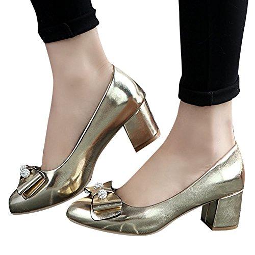 MissSaSa Damen Chunky heel geschlossen Pointed Toe Pumps mit Schleife Gold