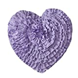 Purple Throw Pillows Hand Crafted Love Heart Shaped Ruffled Floral Decorative Throw Pillow Cushions Wedding Girl's Bedroom Decor 17