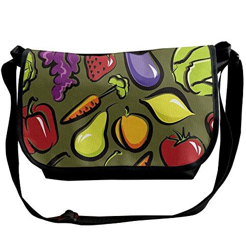 Fruit And Vegetables Dish Casual Messenger School Shoulder Bag Travel Crossbody Bag Unisex Sling Bag
