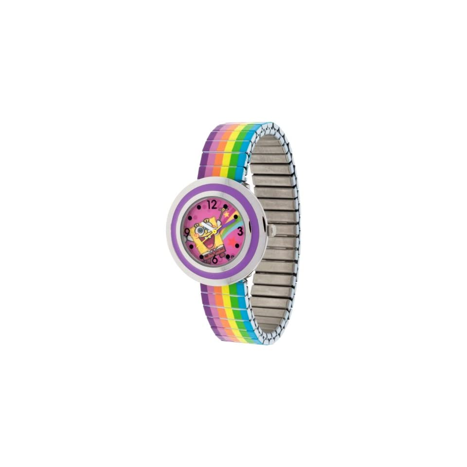 SpongeBob SquarePants SBP607 Watch with Silver Case and Rainbow Expansion Band