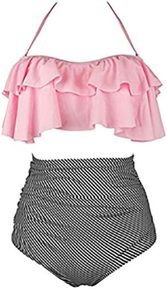 Calladream Matching Swimsuits for Mom and Daughter High Waist Flounce Bikini Set