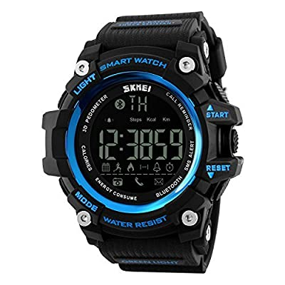 SKMEI 1227 Bluetooth Digital Smart Sports Watch Blue With Health Fitness and Sport Activity Tracker Compatible with IOS, Android, Apple iphone 7, 3G, 4G Smart Phones, All Mobiles