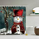 """Snowman Shower Curtain Ezlif Merry Chrismas Shower Curtain, Winter Cute Snowman Decoration 70"""" x 70"""" Polyester Fabric Waterproof Bathroom Shower Curtains Liner with 12 Rust Proof Hooks"""