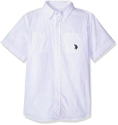 Kids Printed T-shirts - U.S. Polo Assn. Boys' Big Short Sleeve Striped Crew Neck T-Shirt, Fashion Printed slub White, 18