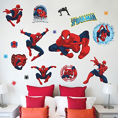 (Best Choise Product Movie Character 3D Cartoon Spiderman Wall Stickers for Kids Rooms Wall s Decor Wallpaper Mural for Boys' Room)