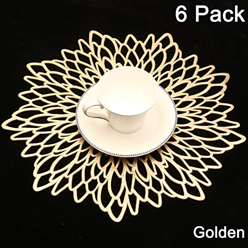 Homcomoda Placemats Set of 6 for Dining Table Round Place Mats Laminated Vinyl Sun Flower Table Mat Accent Centerpiece Table Mats for Dining Table (Gold) (Dining Table Centerpiece Flower)