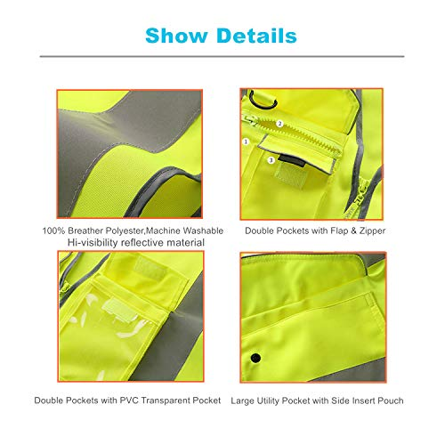 XIAKE SAFETY - Class 2 High Visibility Safety Vest with Pockets and Zipper ANSI/ISEA Standards Yellow (Small) by XIAKE SAFETY (Image #6)