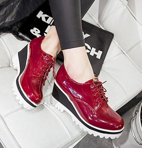 Femme Lacets Compensée Aisun Rond Richelieus Chaussures Rétro Rouge Bout à Rd6qA4