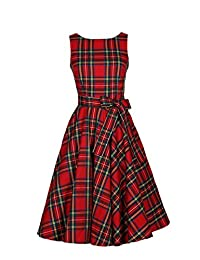Women Vintage Sleeveless Plaid Retro Hepburn Swing Party Cocktail Dress With Bowknot