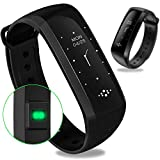 WEARFIT Fitness Tracker Bluetooth Smart Watch Heart Rate Monitor Smart Bracelet Waterproof Pedometer Sport Activity Tracker for Android IOS (Black)