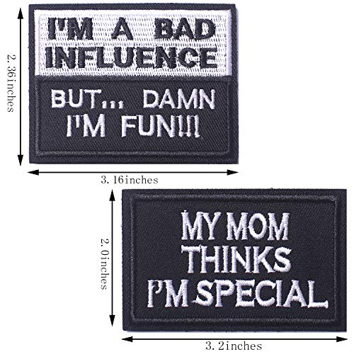SHELCUP My Mom Thinks I'm Special & I'm A Bad Influence Tactical Military Morale Patch for Tactical Gear