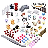 Paxcoo 87 Pcs Miniature Ornaments Kit Set with 1 Pcs Tweezer for DIY Fairy Garden Dollhouse Décor