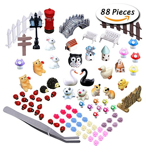Garden Fairy Doll (Paxcoo 87 Pcs Miniature Ornaments Kit Set with 1 Pcs Tweezer for DIY Fairy Garden Dollhouse Décor)