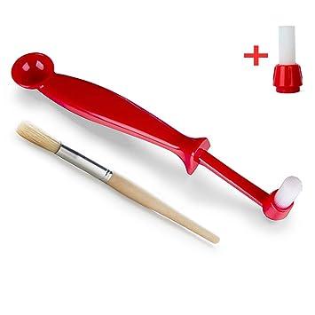 Set de cepillos para máquina de espresso rojo de 2 - Cepillo de limpieza de café con ...