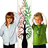 "Growth Chart Art | Hanging Wooden Height Growth Chart Pair to Measure Siblings, Twins, Children, Grandchildren - Pink Rose Flower Blossom and Green Tree of Life Pair for Girls, Boys - 58""x11.25"""