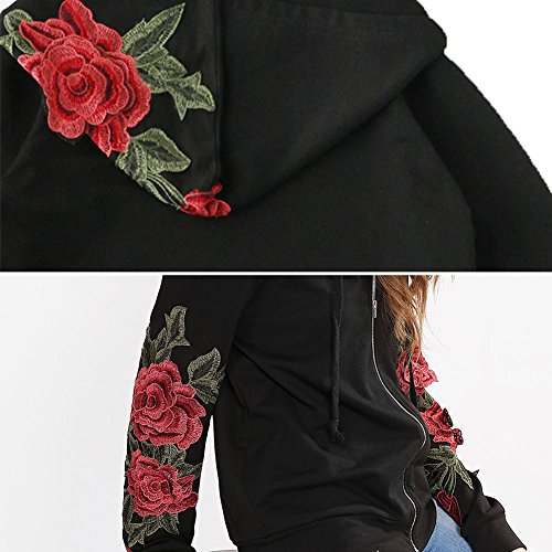 INCREWAY 8 Pairs/set Red Rose Iron Patch Embroidered Flower Applique Patches Sew on Cloth or Shoes