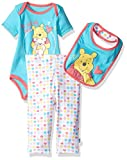 Disney Baby Girls' Winnie the Pooh 3-Piece Bodysuit, Pant and Bib Set, Capri, 6/9