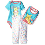 Disney Baby Girls' Winnie The Pooh 3-Piece Bodysuit, Pant and Bib Set, Capri, 0/3