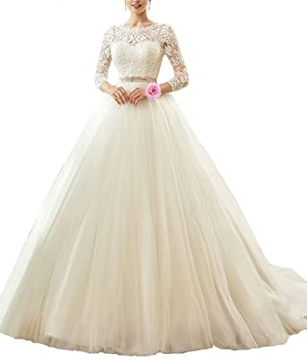 Nicefashion Illusion Long Sleeve Lace Ball Gown Princess Wedding ...