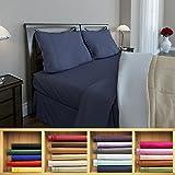 Clara Clark 1800 series Silky Soft 3 piece Bed Sheet Set Twin Size, Navy Blue