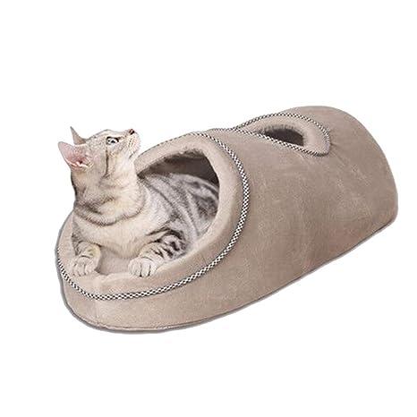 JEELINBORE Cama Cojin Caseta para Gatos Perros Cueva Iglú para Mascotas Pequeño (L: 82