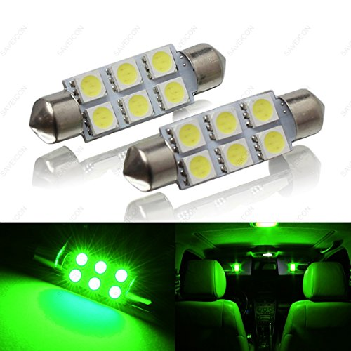SAWE - 44MM 6-SMD 5050 Festoon Dome Map Interior LED Light Bulbs Lamp For 6411 578 211-2 212-2 (2 pieces) (Green)