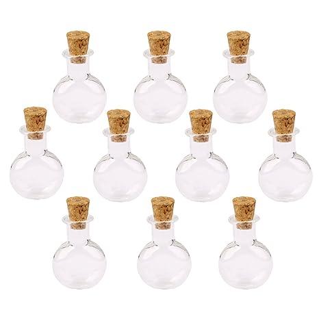 10pcs MIni Botellas Colgantes Forma Redonda Plana Vidrio Tapón de Corcho -Transparente