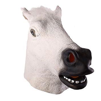Tinksky Cabeza de caballo espeluznante Máscara de látex Teatro Prank Prop Crazy Masks traje de Halloween