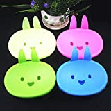 XENO-2x Candy Rabbit Ear Soap Box Holder Dish Container Case Storage Bathroom Supply