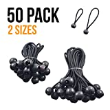 uComforts Premium Black Ball Bungee Cords, Quality 50 Pack of 4 inch, 6 inch Black UV Treated Cord, Giving You the Best New Ball Bungee, Bungee Loop with Ball, Ball Bungee Cord, Tarp Bungee Cords