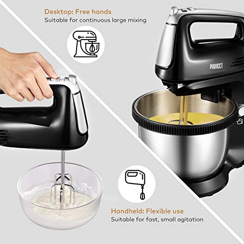 Hand Mixer Electric Detachable Stand Mixer Includes 3.7-Quart Stainless Steel Rotating Bowl, 5 Speed and Turbo Function, 2 Beaters, 2 Dough Hooks, 250W, Black