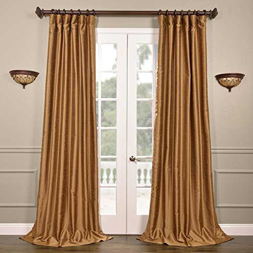 French Empire Decor - Half Price Drapes PDCH-HANB85-84 Yarn Dyed Faux Dupioni Silk Curtain, Empire Gold