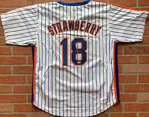(Darryl Strawberry autographed signed jersey MLB New York Mets PSA COA)